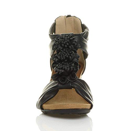 Mat Pointure bar Bout Noir Compensées T Talon Lanières Sandale Fleur Femmes Mi Ouvert vR744w