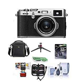 Fujifilm X100F 24.3MP Digital Camera, Fujinon 23mm f/2 Lens, Silver - Bundle with Camera Bag, 32GB SDHC Card, Cleaning Kit, Table Top Tripod, Memory Wallet, Card Reader, Mac Software Package