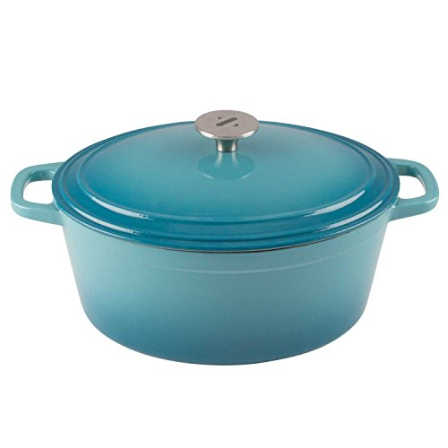 Zelancio 6 Quart Cast Iron Enamel Covered Oval Dutch Oven Cooking Dish with Skillet Lid in Teal (Cast Iron 6 Qt compare prices)