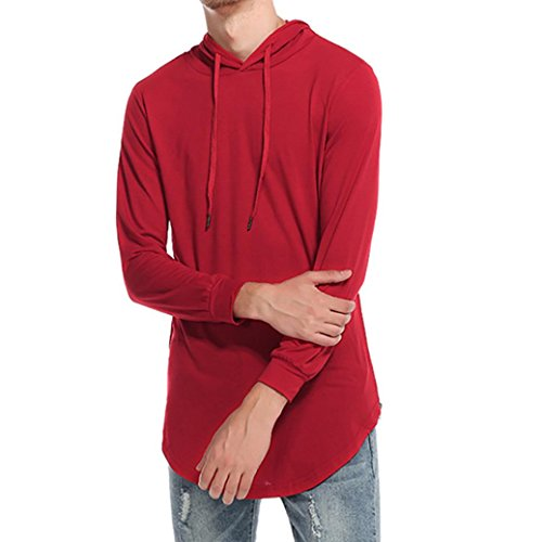 - DEATU Men's Simple Casual Ripped Solid Hooded Long Sleeve T-Shirt Top Blouse (M, Red)