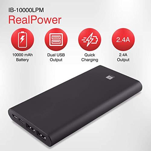 iBall 10000mAh Li-Polymer Slim Design Smart Charge Metal Powerbank – LPM10000 (Black)