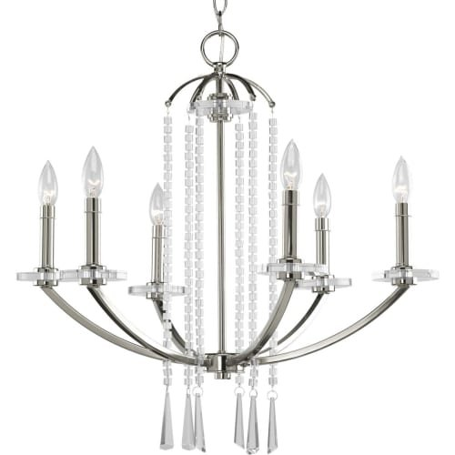 Progress Lighting P4139-104 Nisse Collection 6-light Chandelier, Polished Nickel (Chandelier Collection Bronze Tiffany Vintage)