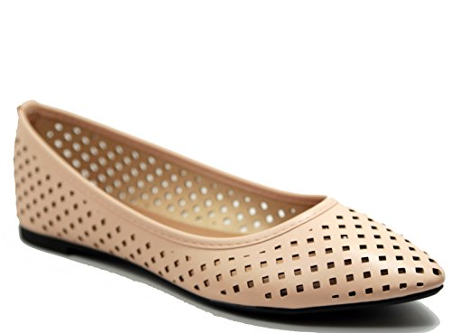 Walstar Women's Comfortable Point Toe Flat Pumps - Taupe Footwear Patent