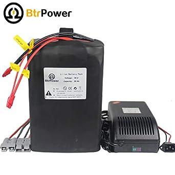 48 V 30 Ah Batería de litio pack para moto bicicleta eléctrica Scooter Cargador de batería con una: Amazon.es: Amazon.es