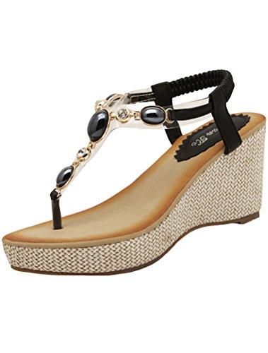 Vogstyle Kvinner Sommer Böhmen Flate Sandaler Elastisk T-stropp Thong Sandaler Hæler Stil 5-svart