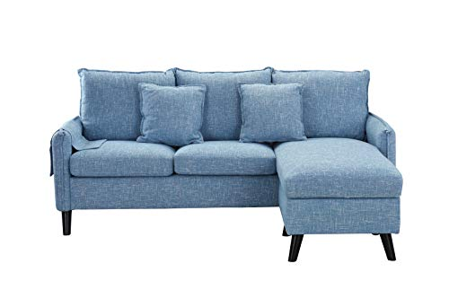 Classic Living Room Linen Sectional Sofa, L-Shape Couch with Pocket Organizer (Light Blue) ()