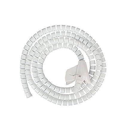 Blanc JZK/® 2.5cm x 1.5 M/ètre Flexible Spiral Binding Wrapping Band C/âbles Wires Wrap Organizer