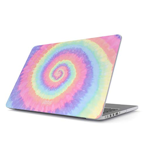 (Glitbit Hard Case Cover Compatible with MacBook Air 13 inch Case Release 2018-2019, Model: A1932 with Retina Display and Touch ID Hipster Pastel Rainbow Colors Trippy Swirl Holography Pale)