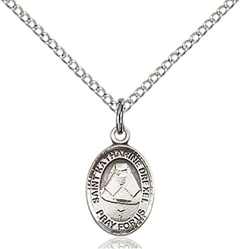 Sterling Silver Saint Katharine Drexel Petite Charm Medal, 1/2 - Drexel Medal Pendant Katharine