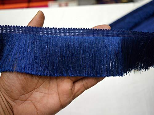 Wholesale 2.5'' Navy Blue Brush Fringe Trim by 9 Yard Gypsy Indian Boho Bohemian Ethnic Ribbon Fringed Laces Embellishments Crafting Sewing Lace Home Decoration Border ()