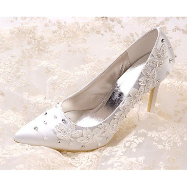 for Imitation Pump 4U Spring Shoes Shoes Rhinestone Women's Summer Basic Toe White Wedding Stiletto Heel Best Silk Applique Toe Pointed Pearl Closed 0nqRxUR