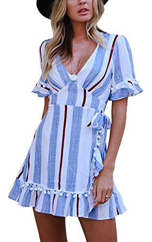 - Hount Womens Summer Beach Dress Short Sleeve Deep V Neck Striped Ruffle Hem Casual A-Line Mini Dress (Small, Blue)