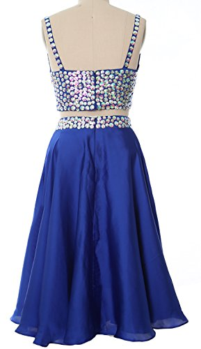 MACloth Women Gown Formal Neck Cocktail Straps Prom Champagner 2017 2 V Dress Short Piece H6xHgq