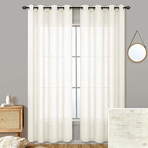 Natural Linen Blended Curtains for Living Room 95 Inches Long 2 Panel Set Grommet Soft Lightweight Semi Sheer Window Drapes Flax Natural Colored Curtains for Bedroom Decor Beach Outdoor 52×95 Length