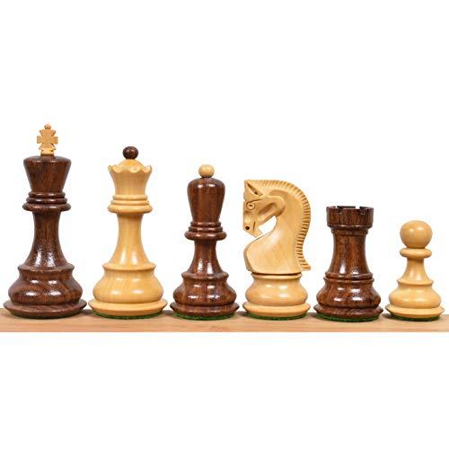 RoyalChessMall – Juego de piezas de ajedrez rusa de 3,9 pulgadas de Zagreb de 59 pies, palisandro dorado y boj