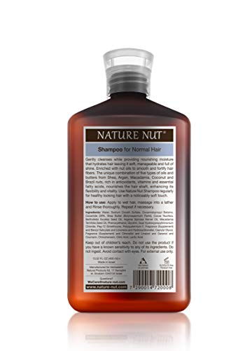 Nature Nut Hair Shampoo for Normal Hair - Hypoallergenic Moisturizing Hair Repair Treatment Cleansing Shampoo with 5 Nut Hydration Boost Formula for Hair & Scalp