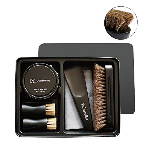 Hlaximilian Deluxe Business Leather Shoe Care Kit - 2 Shoe Polish Applicator Brush, 100% Horsehair Brush, Black & Neutral Polish (40g), Shoehorn, Buffing/Shining Cloth with Black Metal Case from Hlaximilian