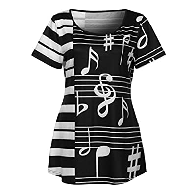 Alixyz Women T-Shirt Musical Note Printing Short Sleeve Casual Tops Fashion Blouse