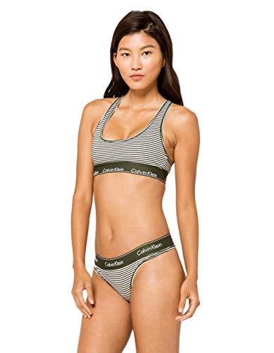Calvin Klein Women's Modern Cotton Thong Panty, Marching Stripe, S
