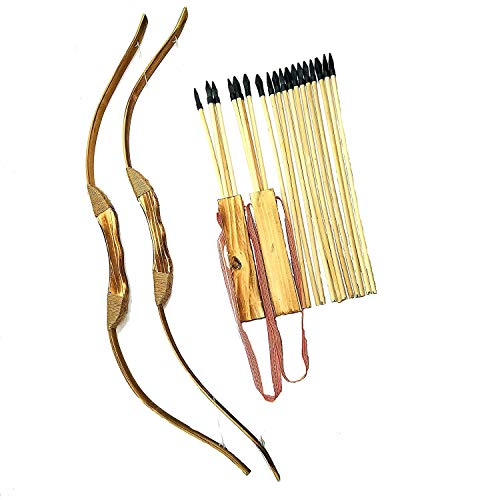 2-Pack Handmade Wooden Bow and Arrow Set-24 Wood Arrows and 2 Quiver (Best Wood For Bow And Arrow)