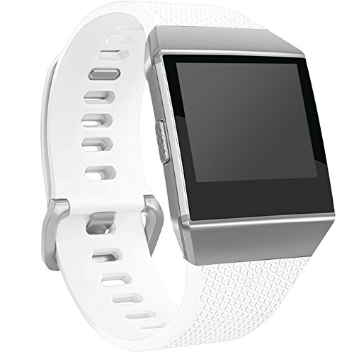 Wepro Fitbit Ionic Watch Band, Bands Replacement Sport Strap Accessory for Fitbit Ionic Smartwatch, Buckle, White, Large