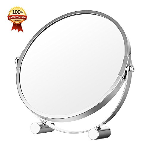 Cosmetic Makeup Mirror Double-Sided 1X/3X Magnification Polished Chrome Finish- 7 Inch (Stainless Polished Pedestal Steel Chrome)
