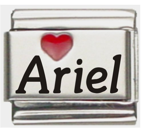 (Ariel Red Heart Laser Name Italian Charm Link)