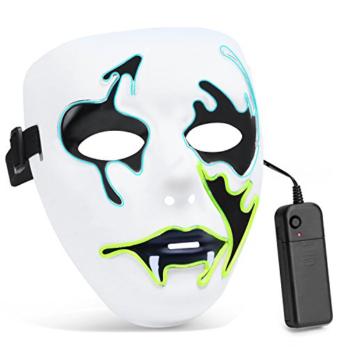 Zooawa EL Wire LED Mask, Light Up Luminous Glowing Cool Tush Scary Death Mask Party Favor for Christmas, Halloween, Cosplay, Carnival, Masquerade, DJ Show - Iceblue + (Scary Masquerade Masks)