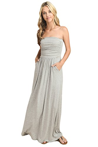 Vanilla Bay Solid Maxi Dress,Large,Heather Gray