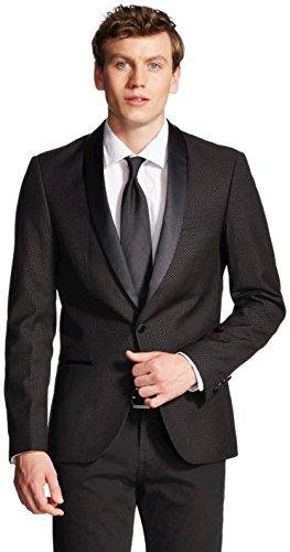 WD NY Men's Shawl Collar Tuxedo Jacket (Large, Black/Pink - Jacket Shawl Tuxedo Black Collar Black