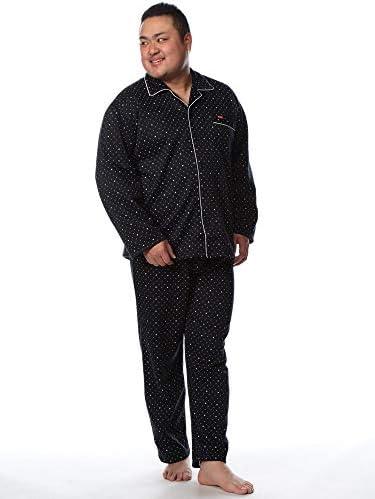 サカゼン EDWIN 大きいサイズ メンズ ニットキルト 小紋柄 前閉じ パジャマ 上下セット