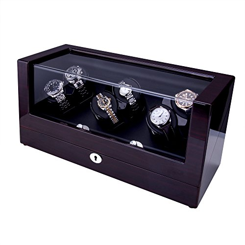 TRIPLE TREE Watch Winder [Newly Upgraded], With Soft and Flexible Watch Pillows, Six Winding Spaces, Wooden Shell, Powered by Japanese Motor, For PP, AP, VC, Rolex Automatic Watches (Wood Brown)