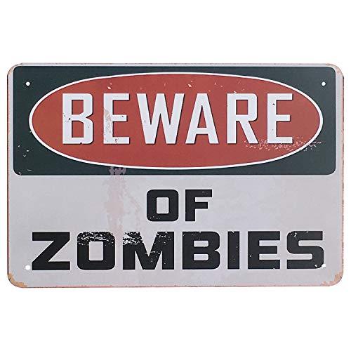 UNIQUELOVER Beware of Zombies Retro Vintage Decor Metal Tin Sign Fun Metal Bar Signs Poster Wall Art Pub Decor 12 X 8 ()