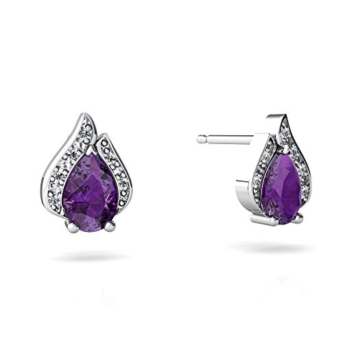 14kt White Gold Amethyst and Diamond 6x4mm Pear Flame Earrings