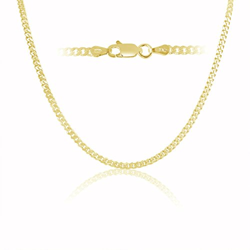 Kezef Creations 18K Gold Plated Sterling Silver 3mm Miami Cuban Link Chain Necklace 18 Inch
