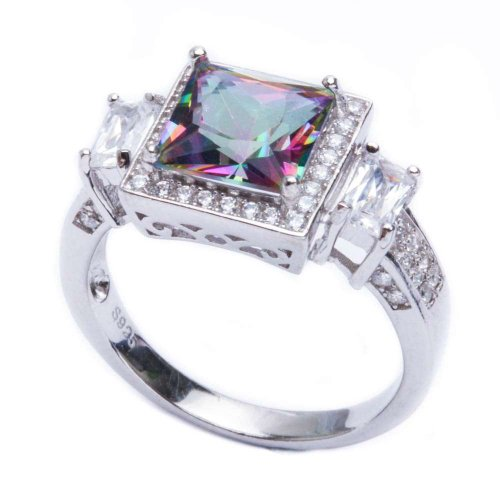 Oxford Diamond Co .925 Sterling Silver 5.50ct Princess Cut Rainbow Colored CZ & Cz Ring Size 8