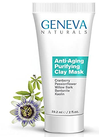 Purifying Clay Face Mask - Natural Anti-Aging Formula With Cranberry, Passionflower, Willow Bark, Bentonite and Kaolin for Men & Women - - Best Clay Mask