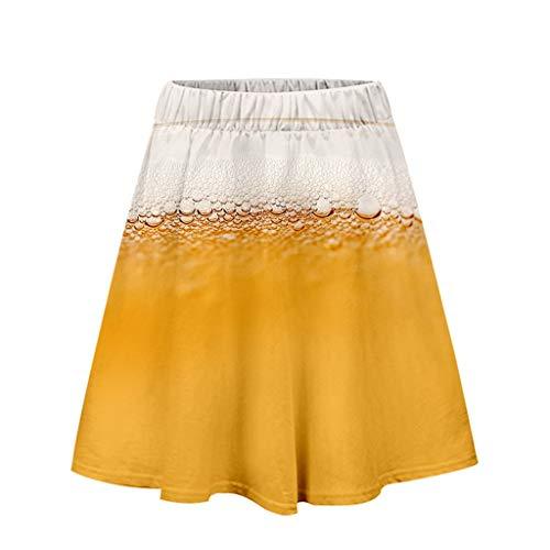 LuminitA Women's Beer Festival Skirt Fashion 3D Printing Stretchy Flared Casual Pleated Mini Skater Skirt ()