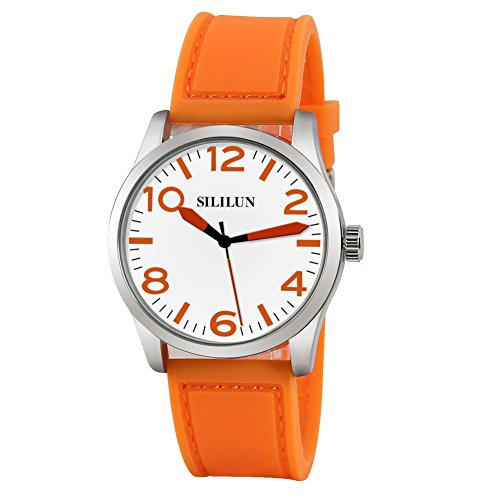 SILILUN Silicone Watch Women Watch Orange with Cute Big Numerals Ladies Wrist Watch - Orange Womens Watch