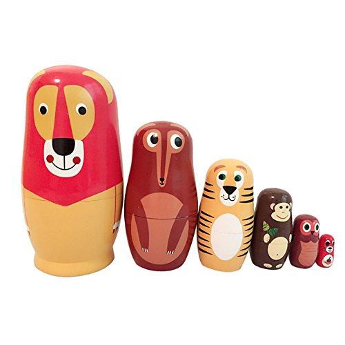 EVINIS6 Pcs Cute Animal Doll Wooden Russian Nesting Dolls Matryoshka Wood Nested Stacking Dolls -