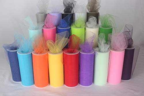 Tulle Rolls, 6 Inch x 25 Yards(75 Feet) x 20 Spools, A Series, Sheer Fabric for Tutu Skirt Sewing Crafting, Wedding Party, Gift Ribbon ()