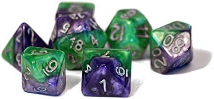Gate Keeper Games Joker Dice Halfsies Dice Puzzling Purple /& Grin Green Silver Numbering 7 die polyhedral dice Set