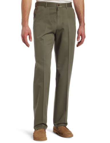 Haggar Men's Big-Tall Work to Weekend Hidden Expandable Waist Plain Front Pant,Olive,56x30 by Haggar