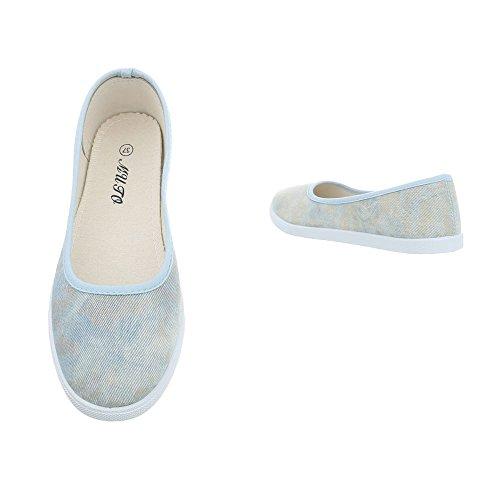 Ital Gris para Zapatos Azul Plano Clásicas Mujer Zy1715 Bailarinas Design Bailarinas WWSzcO