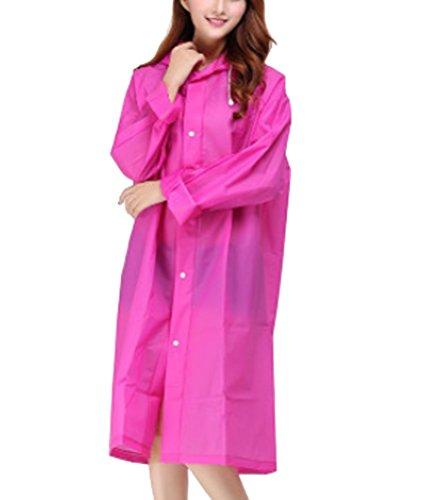 AMSS Quality Smooth Soft translucent Plastic PVC Vinyl Hooded Raincoat Womens Mens Unisex Waterproof Full Length Coat Rose