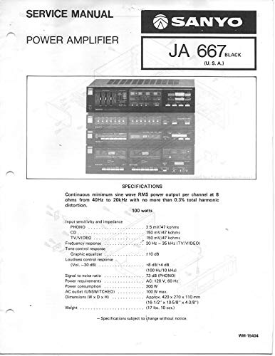 Service Manual for Sanyo JA667 Power Amplifier Amp 100 -