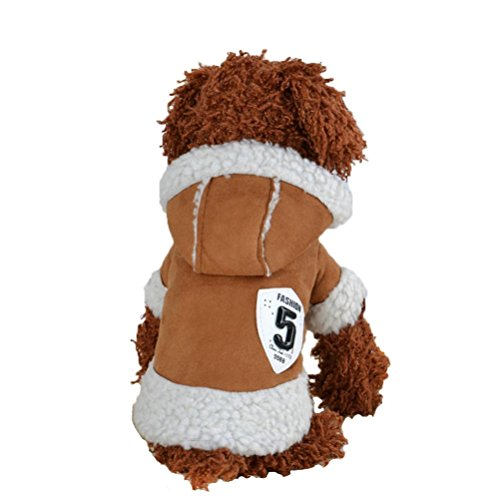 Puppy Clothes,Neartime Winter Clothes Coat Apparel Doggy Warm Motorcycle Costume (M, Coffee) (Doggy Clothes)