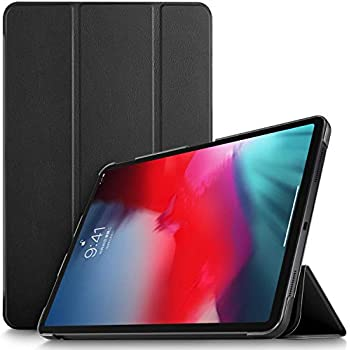 """Ztotop Case for iPad Pro 11"""" 2018 - Slim Lightweight Trifold Stand Smart Shell with Auto Wake/Sleep + Rugged Translucent Back Cover Support Apple Pencil Charging for iPad Pro 11, Matte Black SG03"""