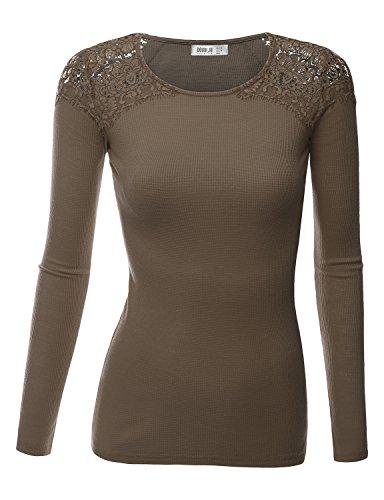 SJSP Women Women Comfot Fabric Lace Neck Line Asymmetric Sleeveless BROWN Slim Fit Top,Medium,M