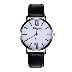 Pocciol Men Watch, Men Leather Band Classic Stainless Steel Quartz Wrist Business Analogue Watch Fashion 2018 (Black)